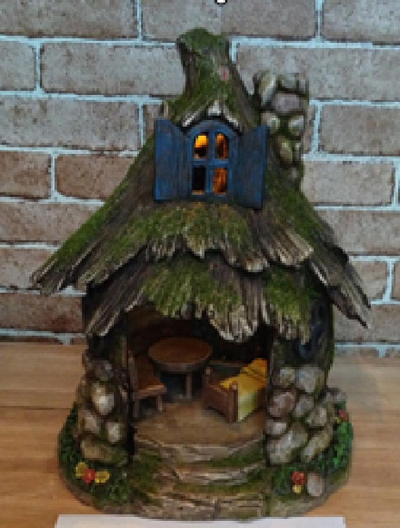 Solar Stone and Moss Fairy Cottage