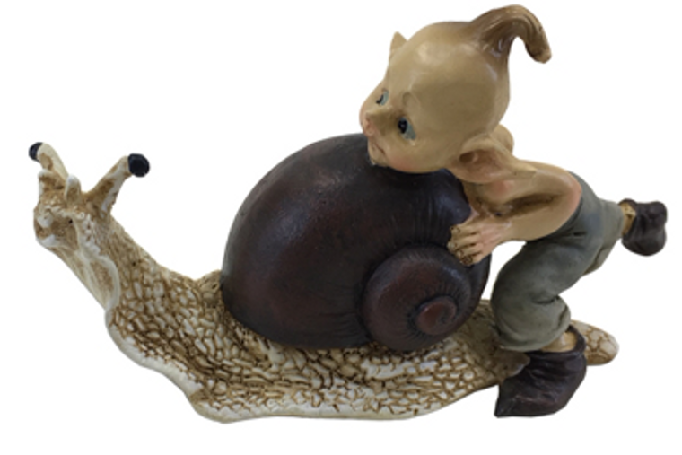 Elvin pushing a snail