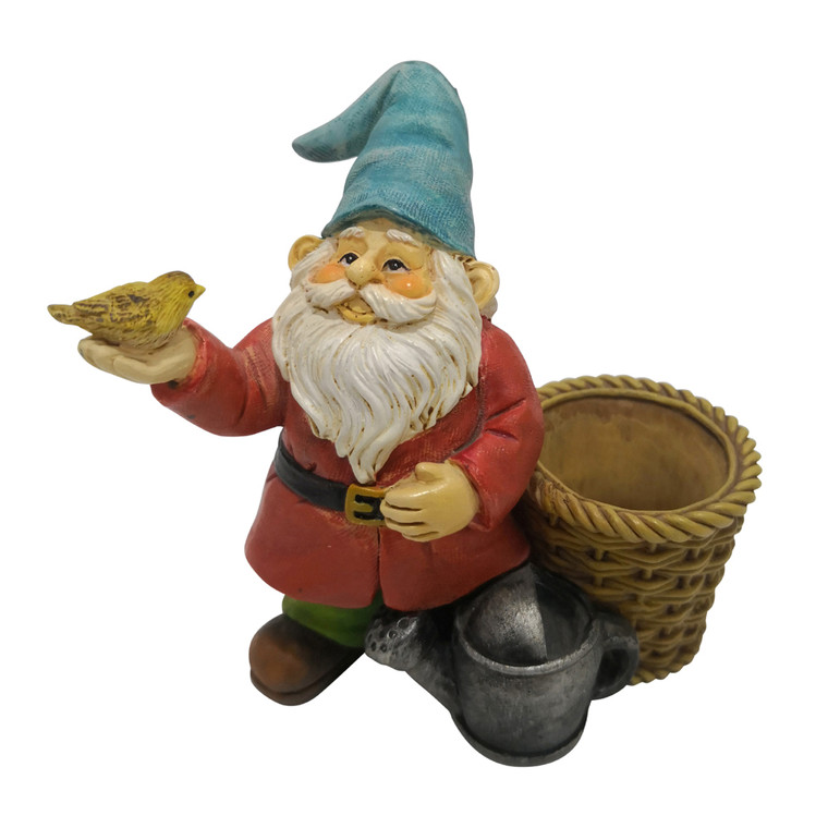 Garden Gnome - with Basket and Bird
