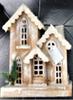 Beautiful Hand Made Wooden Christmas Lodge with Lights (Medium) 29cm