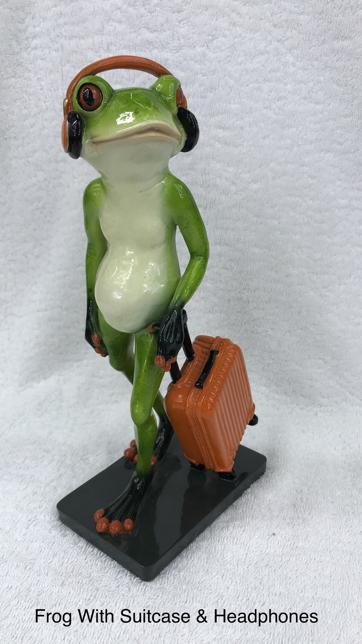Cheeky Frog - With Suitcase and Headphones