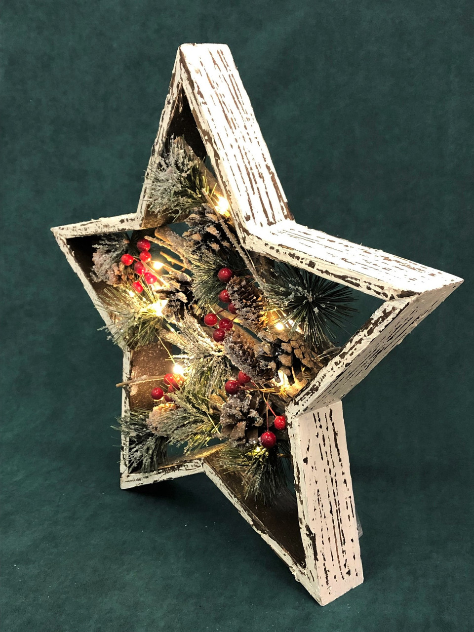 CHRISTMAS BOXED STAR WITH LIGHTS - (MEDIUM) 36CM Christmas Decoration
