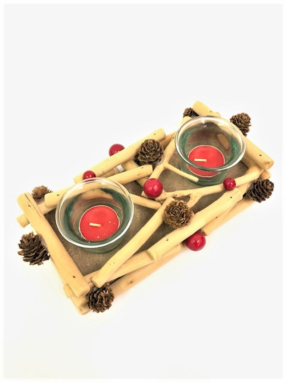 Christmas - Double Candle Holder - Driftwood 22cm
