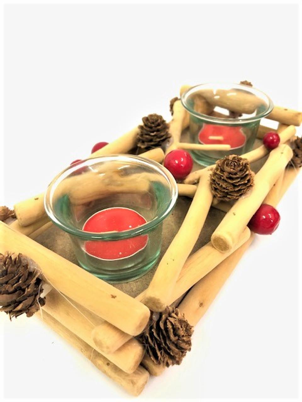 CHRISTMAS 2 CANDLE HOLDER - DRIFTWOOD 25CM Christmas Decoration