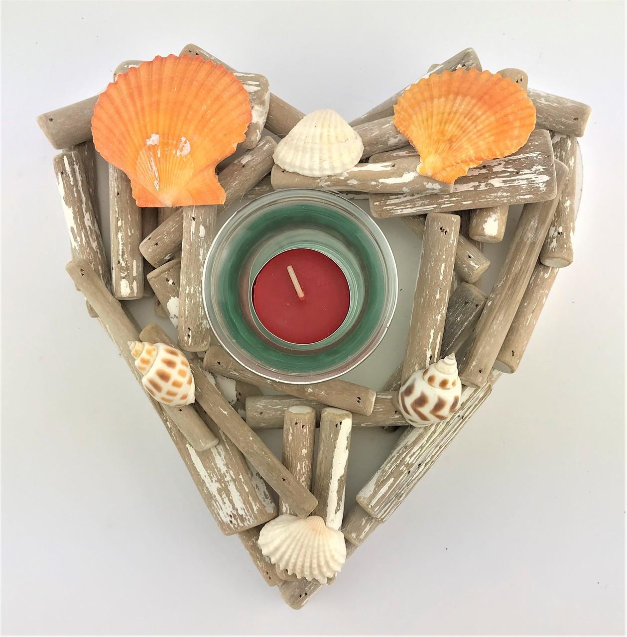 SINGLE CANDLE HOLDER HEART - DRIFTWOOD 15CM
