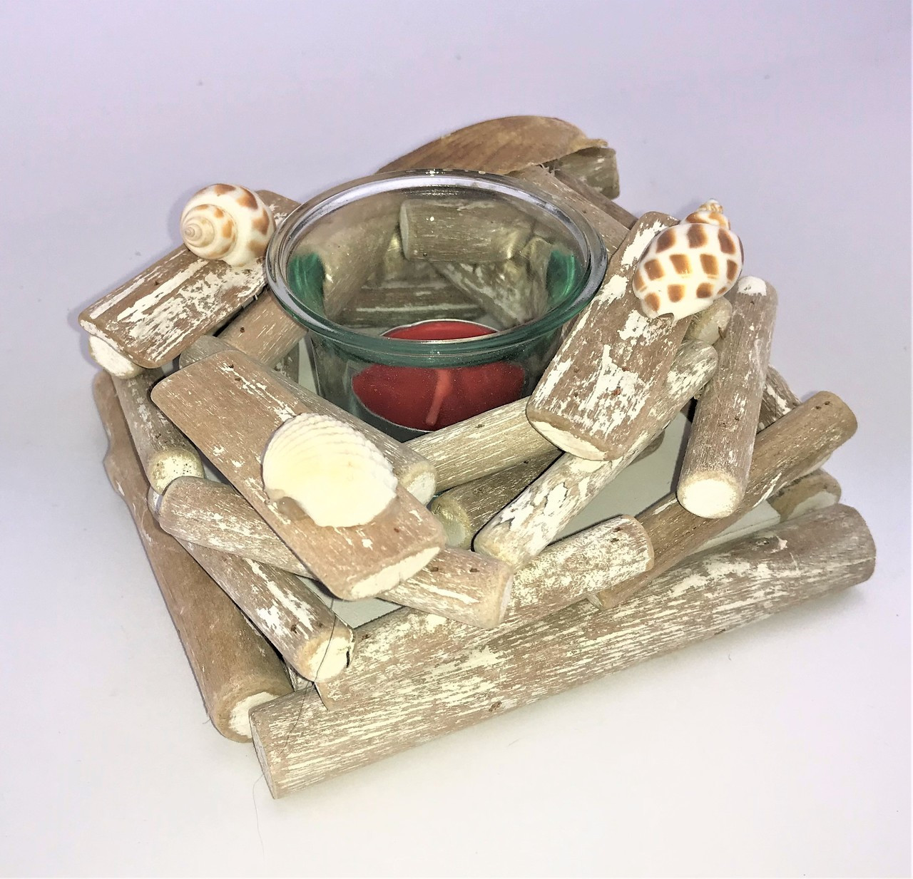 SINGLE CANDLE HOLDER - Square - DRIFTWOOD 15CM