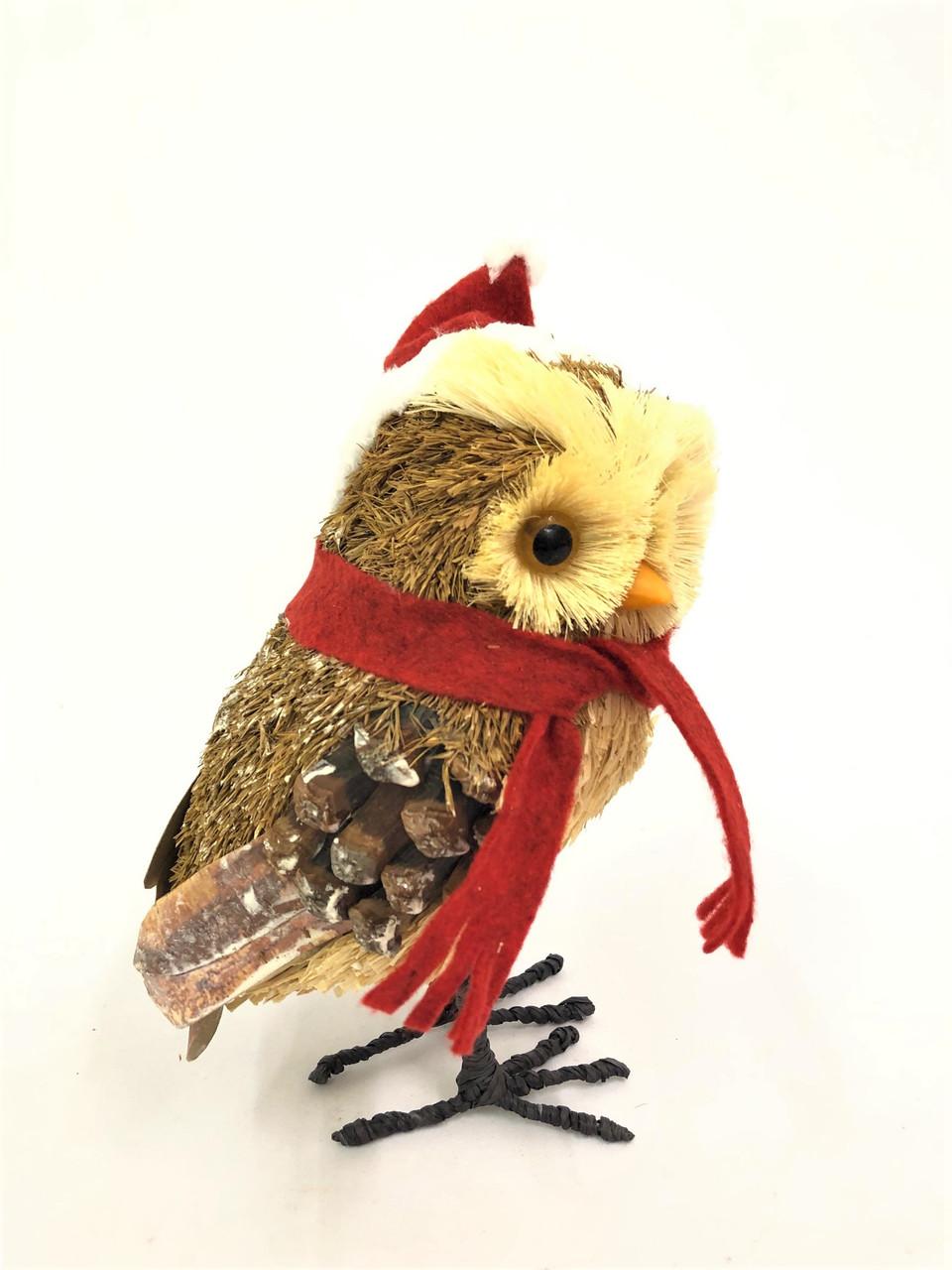 BBS-CHRISTMAS OWL - (LARGE) 26CM BRISTLESTRAW  Christmas Decoration
