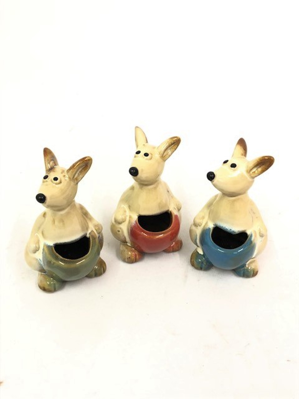 Kangaroo Toothpick Holder - Set of 3 (9cm high) Beautifully designed Ceramic (SET OF 3) Kangaroo Toothpick Holders