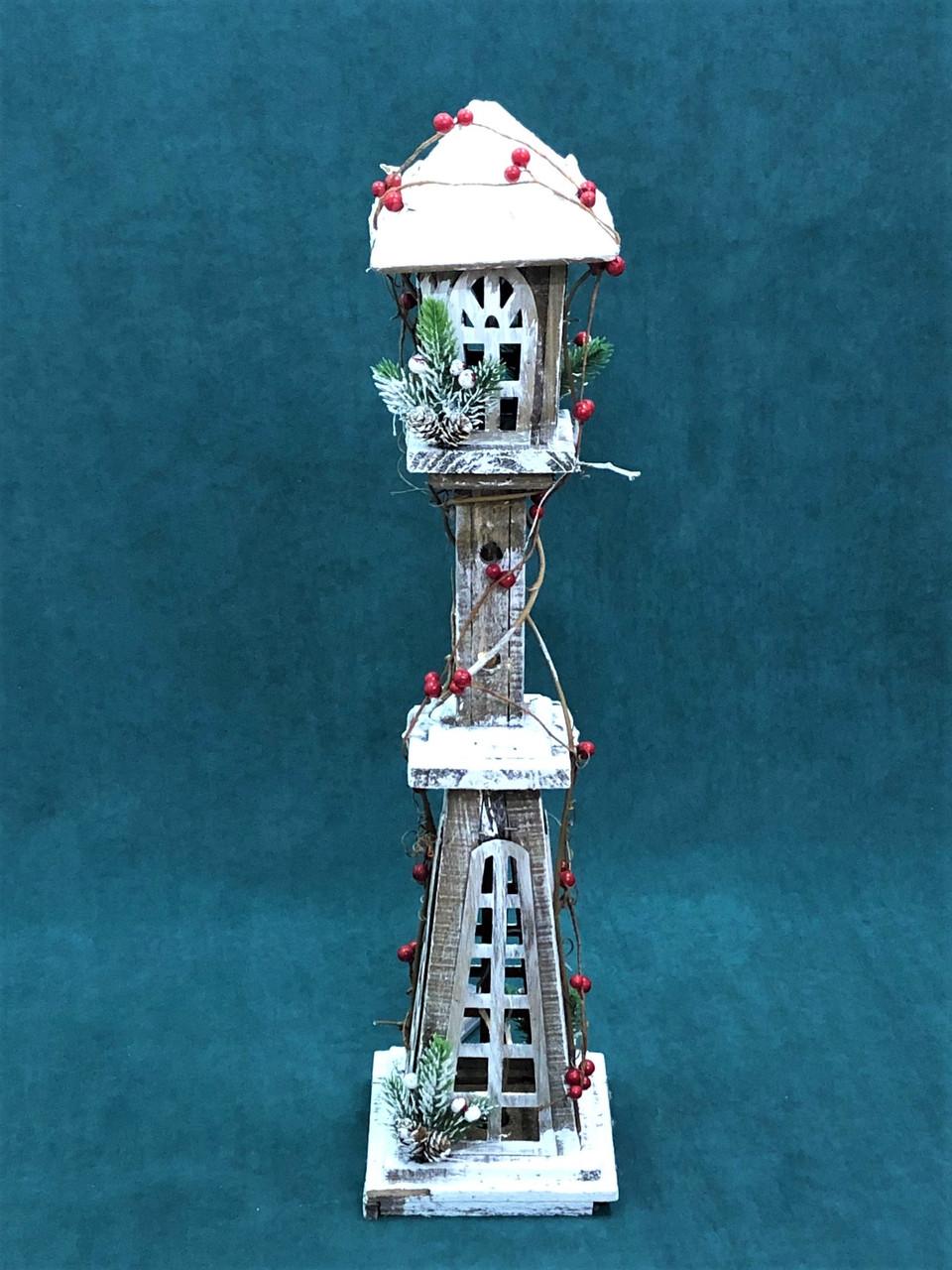CHRISTMAS WOODEN LIGHT UP LANTERN - Small 78CM Christmas Decoration