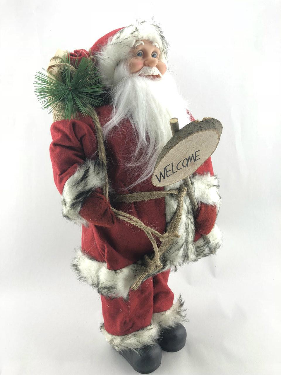 CHRISTMAS SANTA WITH WELCOME SIGN - 48CM  Christmas Decoration