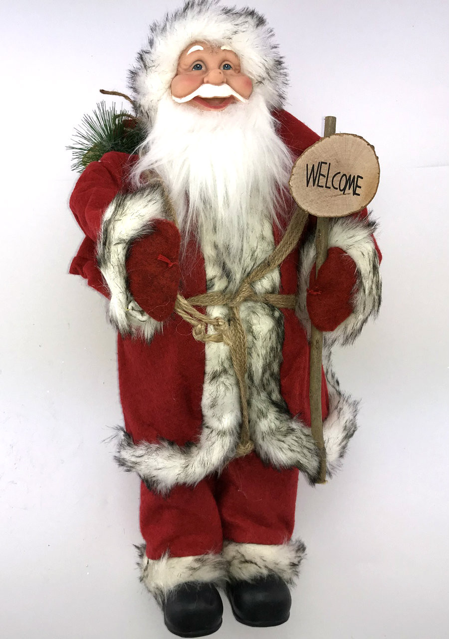 Santa - 35cm with Welcome sign  Beautifully designed large Santa with welcome sign.