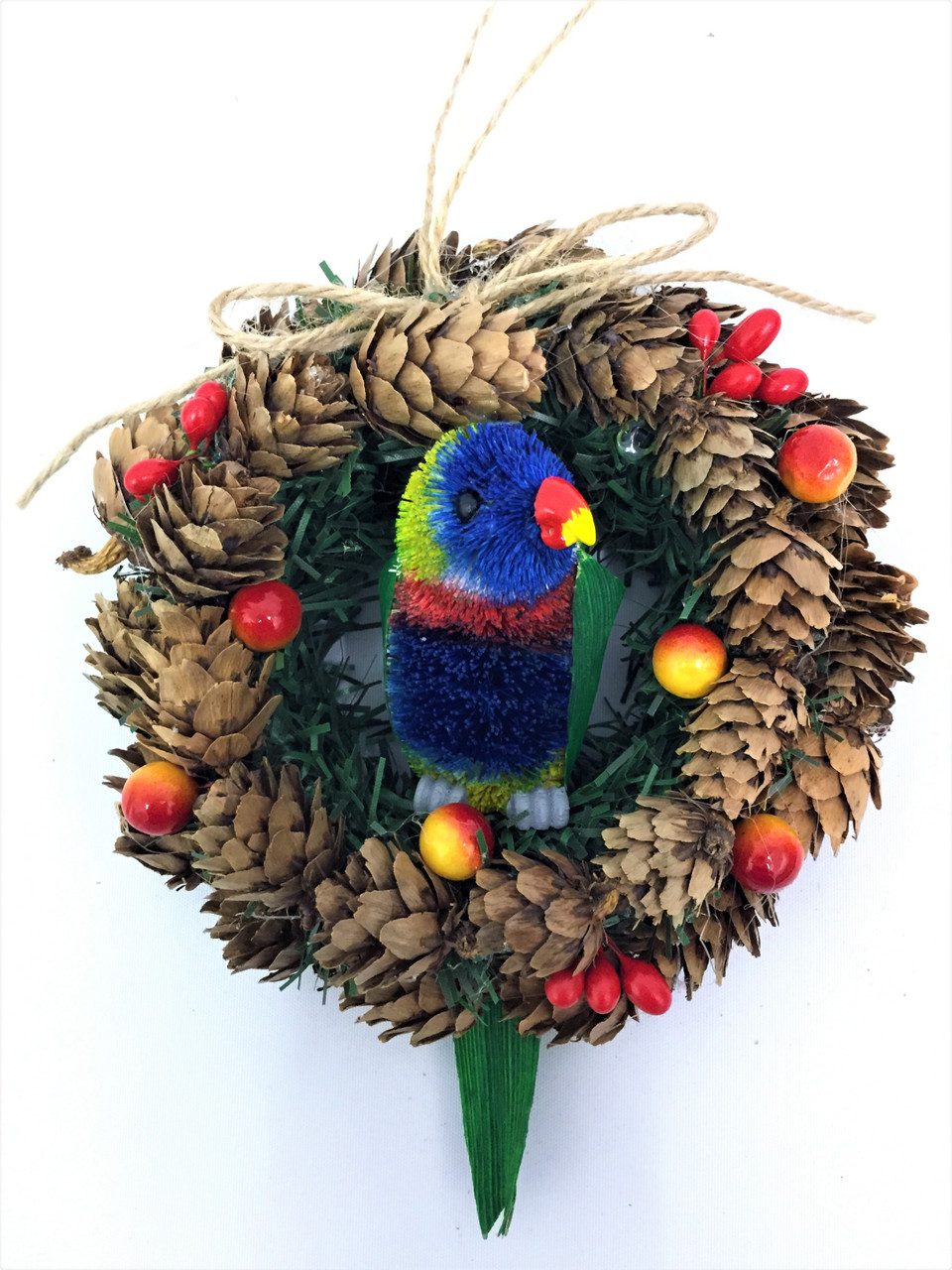 BBW-RAINBOW LORIKEET CHRISTMAS PINECONE WREATH - 14CM Christmas Decoration