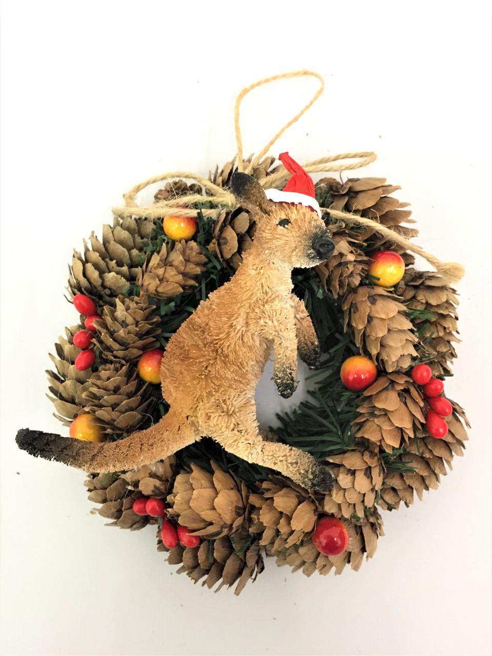 Kangaroo Pinecone Wreath - 14cm  Beautifully Handcrafted Pinecone Wreath with Aussie Kangaroo