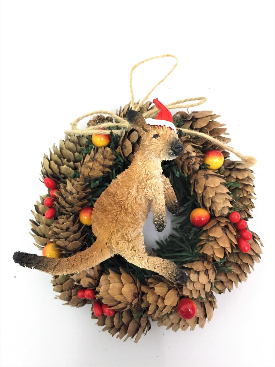 BBW-KANGAROO CHRISTMAS PINECONE WREATH - 14CM Christmas Decoration