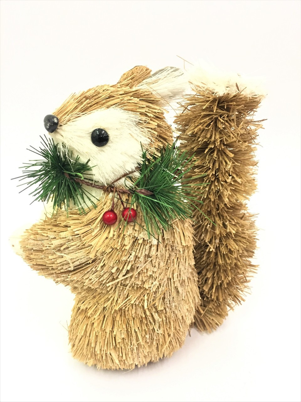 BBS-CHRISTMAS SQUIRREL WITH WREATH - 22CM BRISTLESTRAW Christmas Decoration