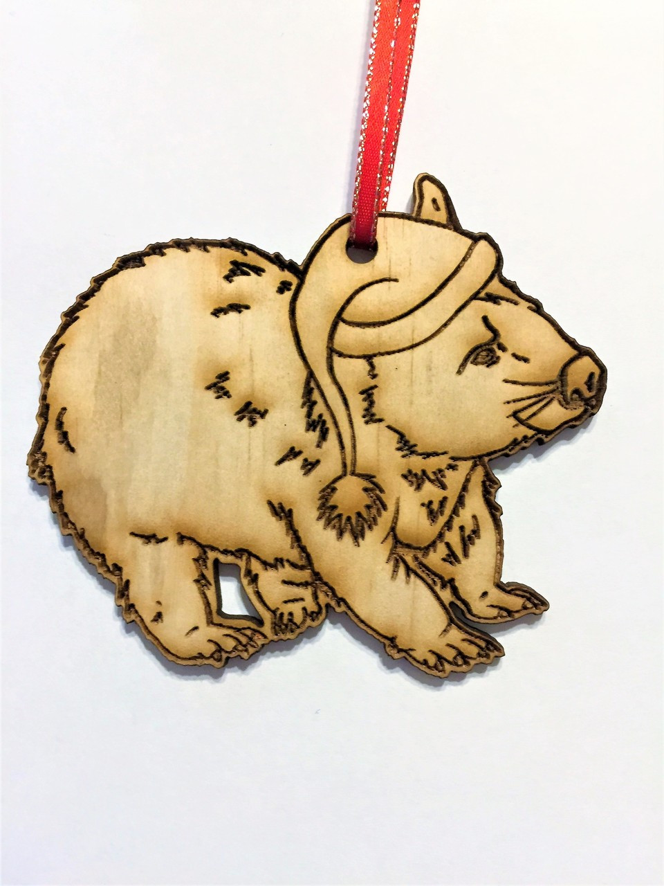 Wombat - Wooden Christmas Tree Ornament - 10cm high