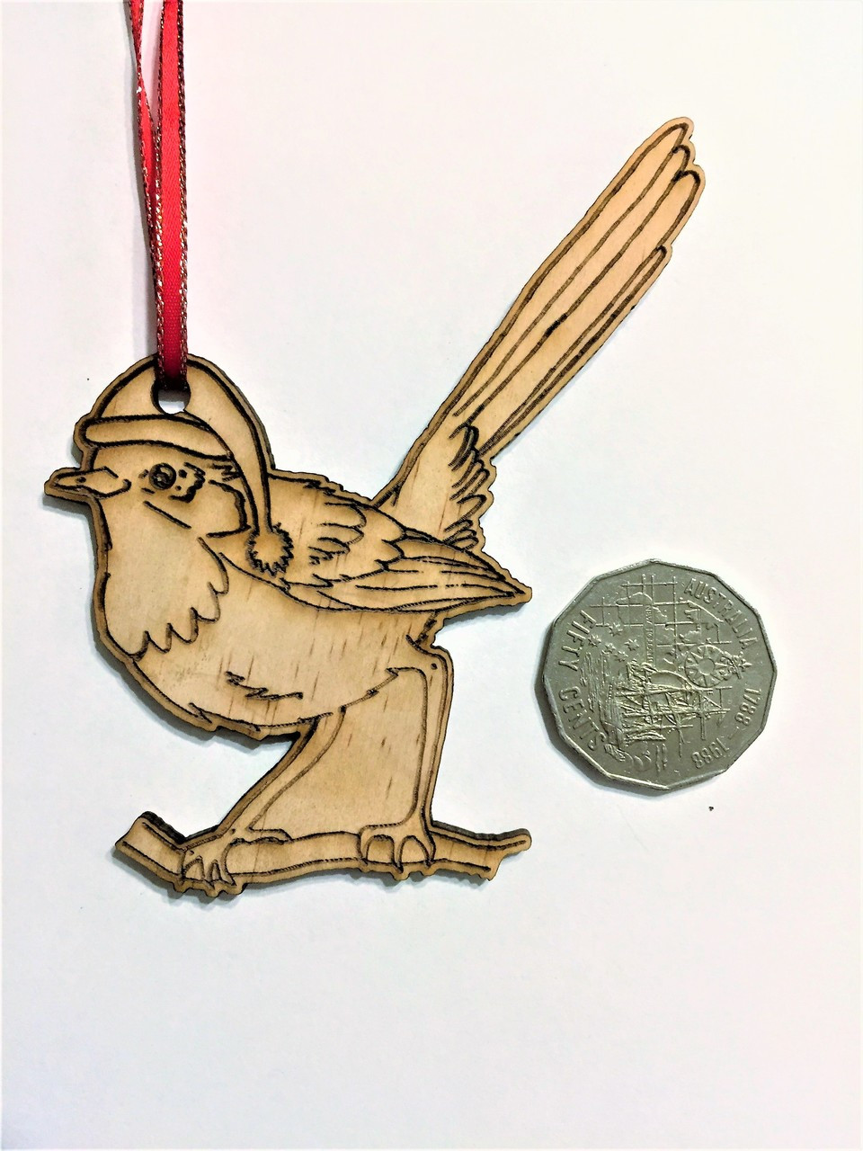 D-Blue Wren - Wooden Christmas Tree Ornament