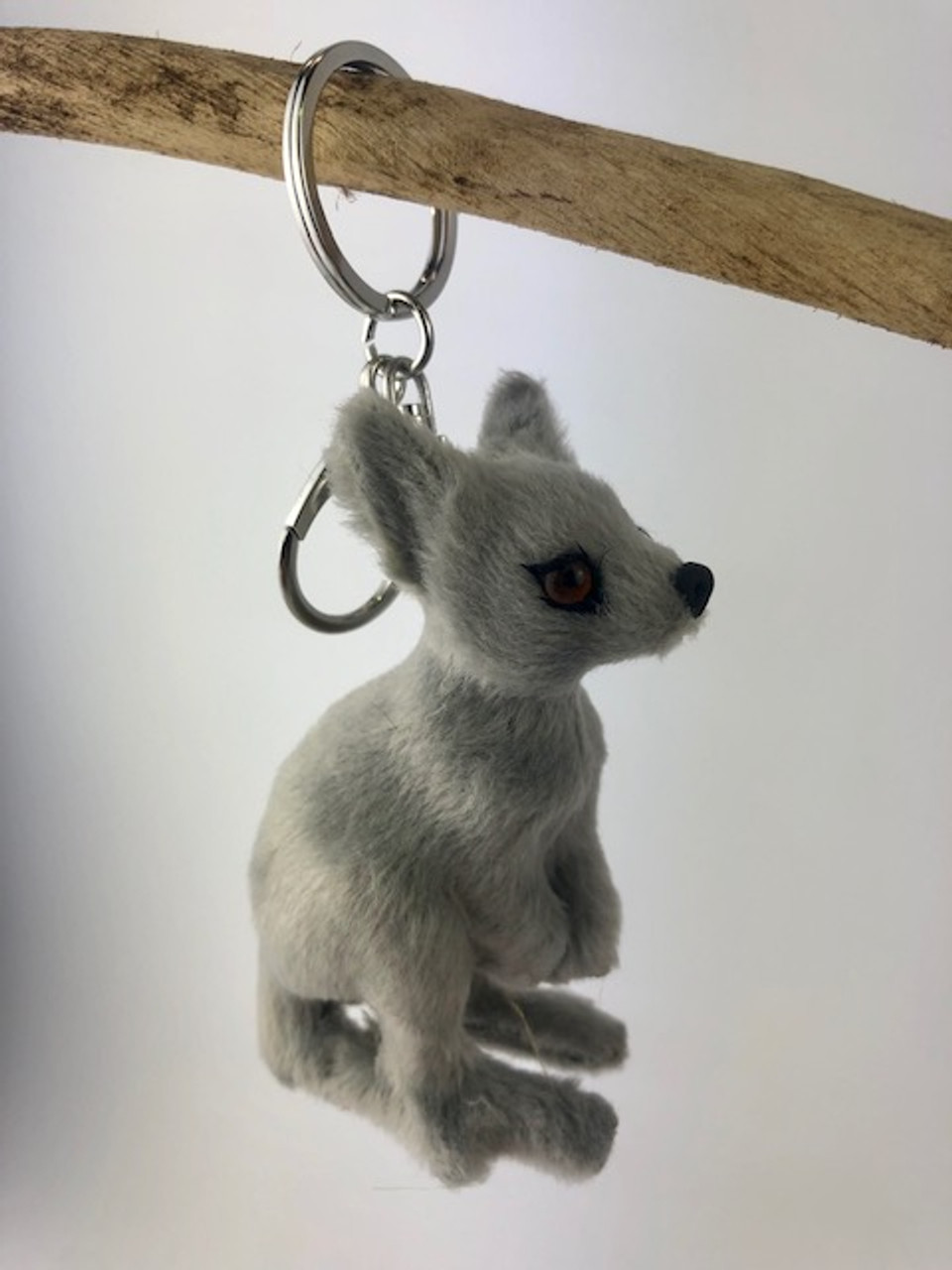 Gorgeous Furry Friends Keyring GREY KANGAROO. Collect them all