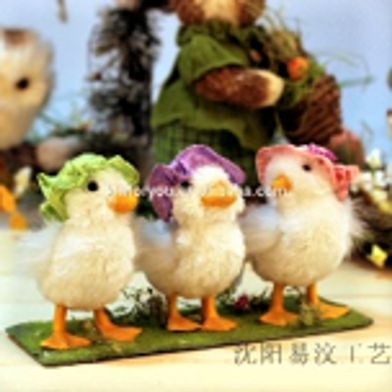 Beautifully Handcrafted, Handmade and all Natural set of 3 little Chicks.    Perfect for something different!