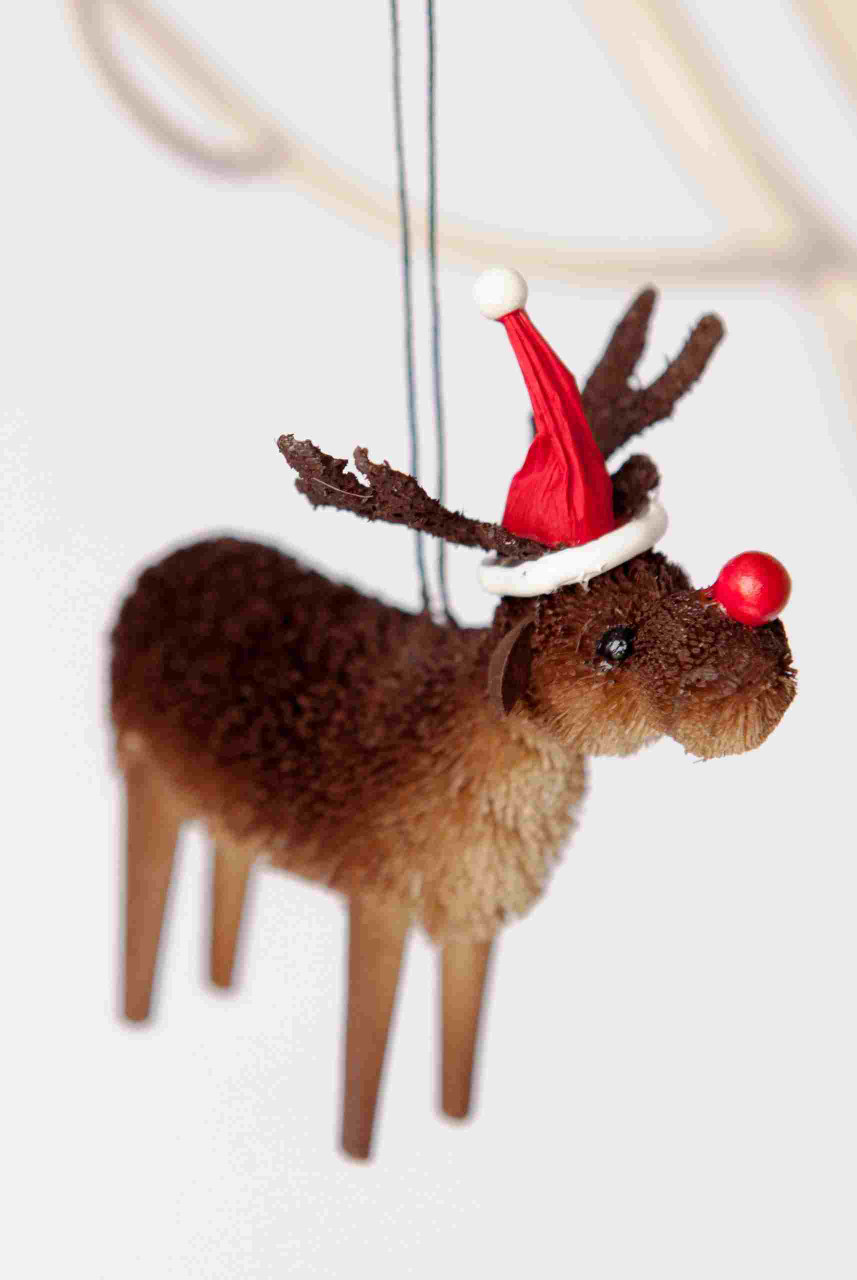 Rudolph Tree Ornament - Bristlebrush - 12cm Beautifully Hand made and all natural Rudolph with a red nose Christmas Tree Ornament.