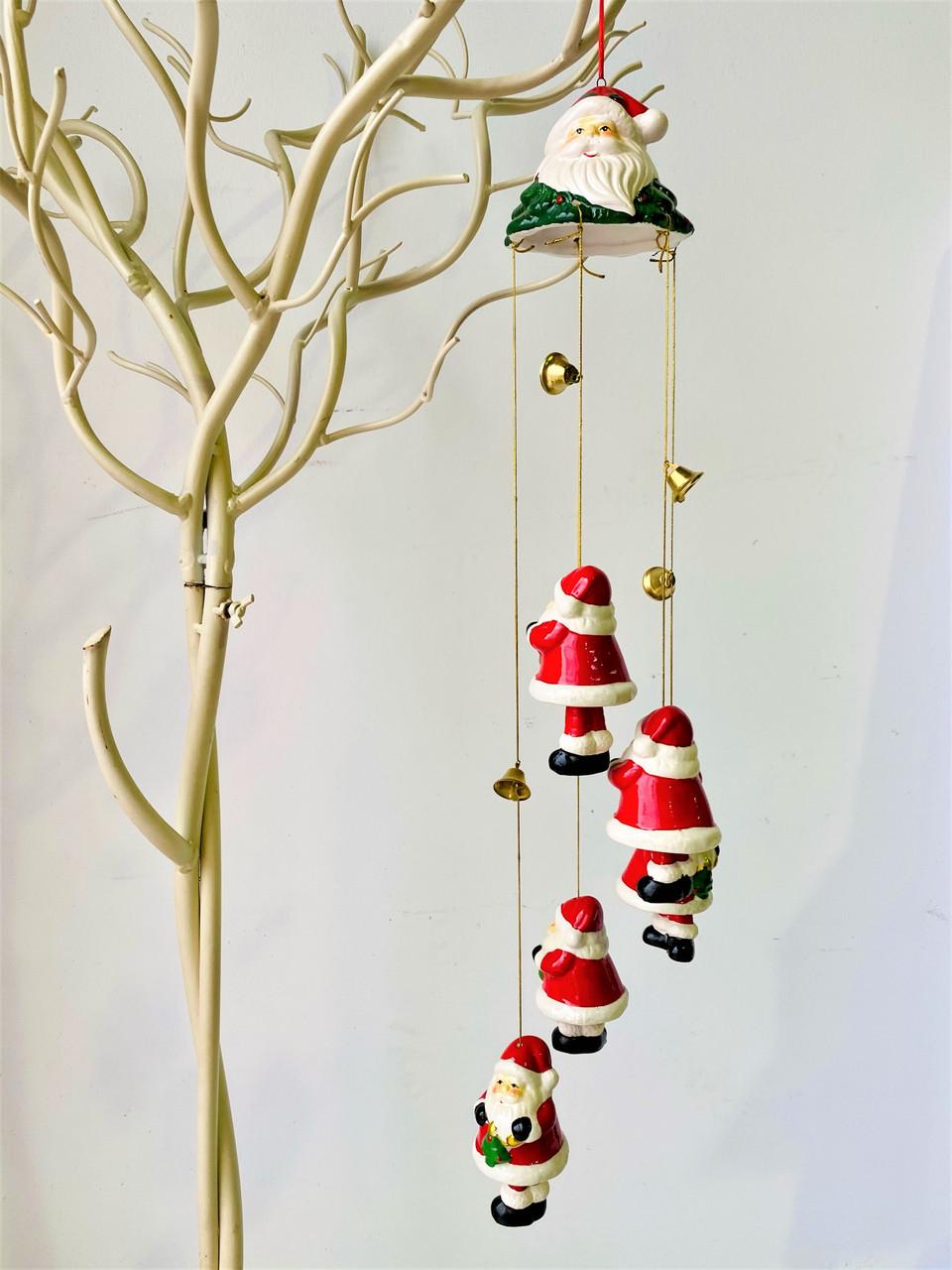 Gorgeous Ceramic Santa Windchime - GOLD TREE - 65cm