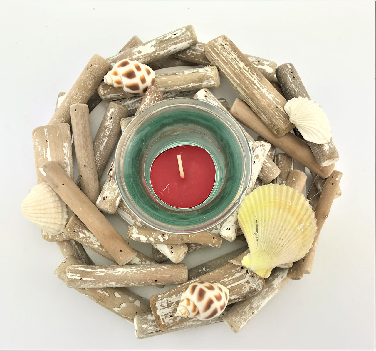 Beautiful Round Driftwood Candle Holder - 15cm Hand Made