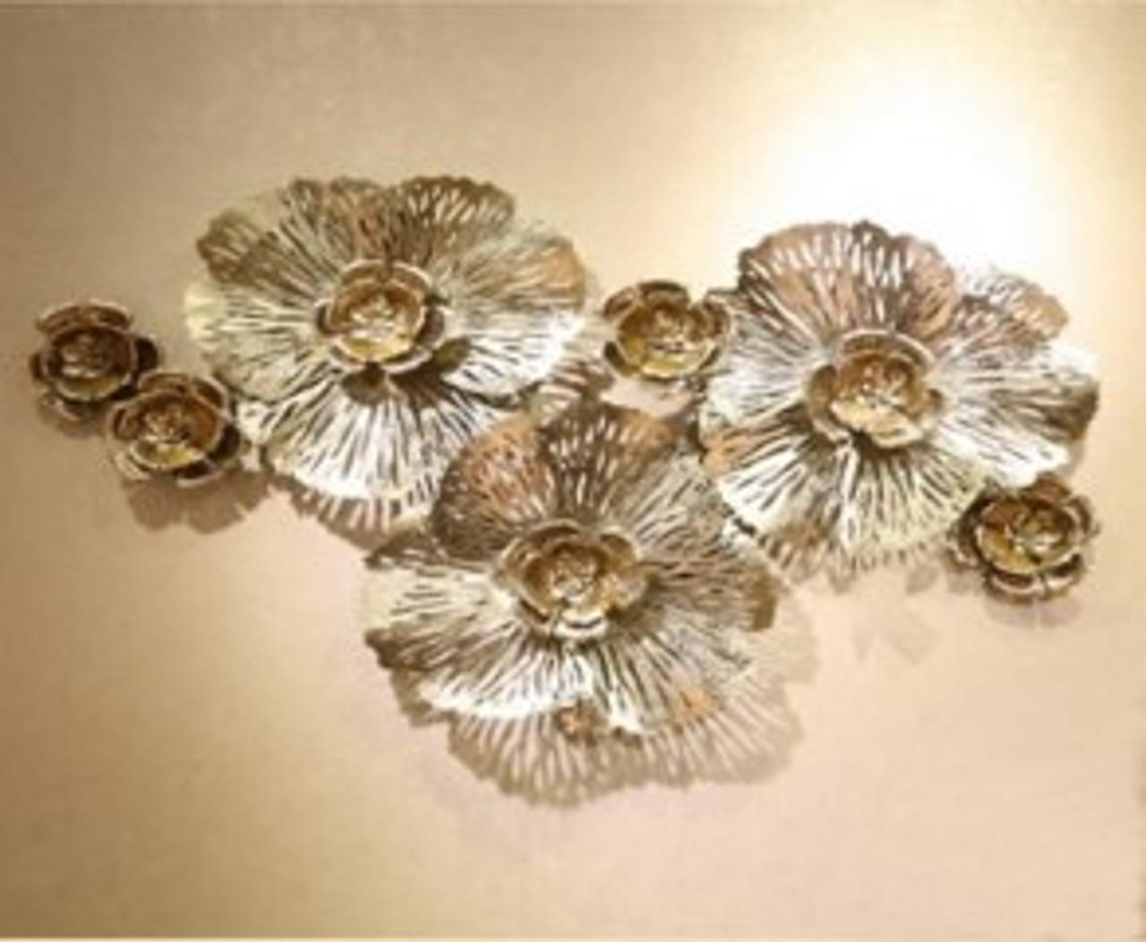 Gorgeous Gold Flowers Wall Art - 121cm