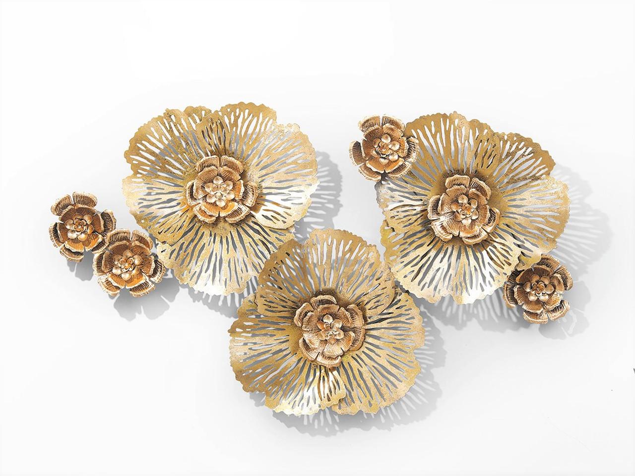 Gorgeous Triple Gold Flowers Wall Art - 121cm