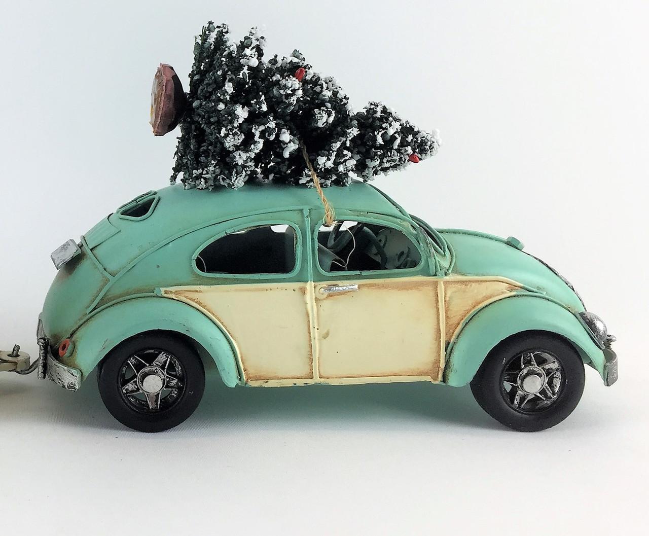 CHRISTMAS VOLKSWAGEN BEETLE - 22cm - BLUE / WHITE