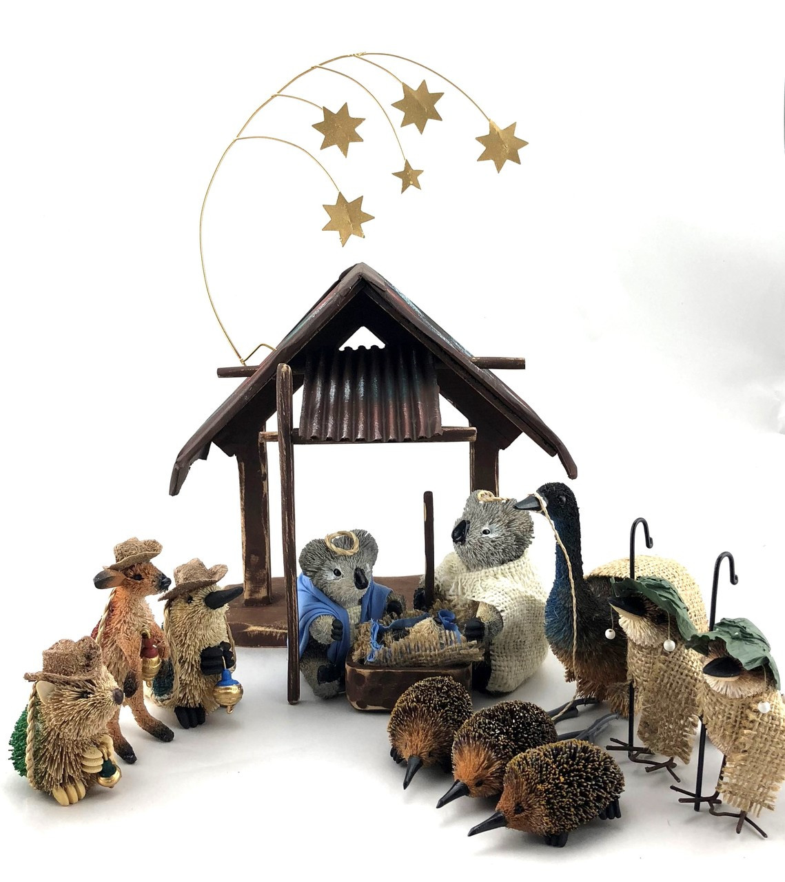 Australian Nativity Scene Beutifully Designed and Hand Made Australian Nativity Scene. Features: Aussie Stable, Emu as Donkey, 3 wise Platypus, Wombat and Kangaroo, Kookaburra Shepherds and Echidna Sheep. Beautifully Quirky and Truly Aussie!!!