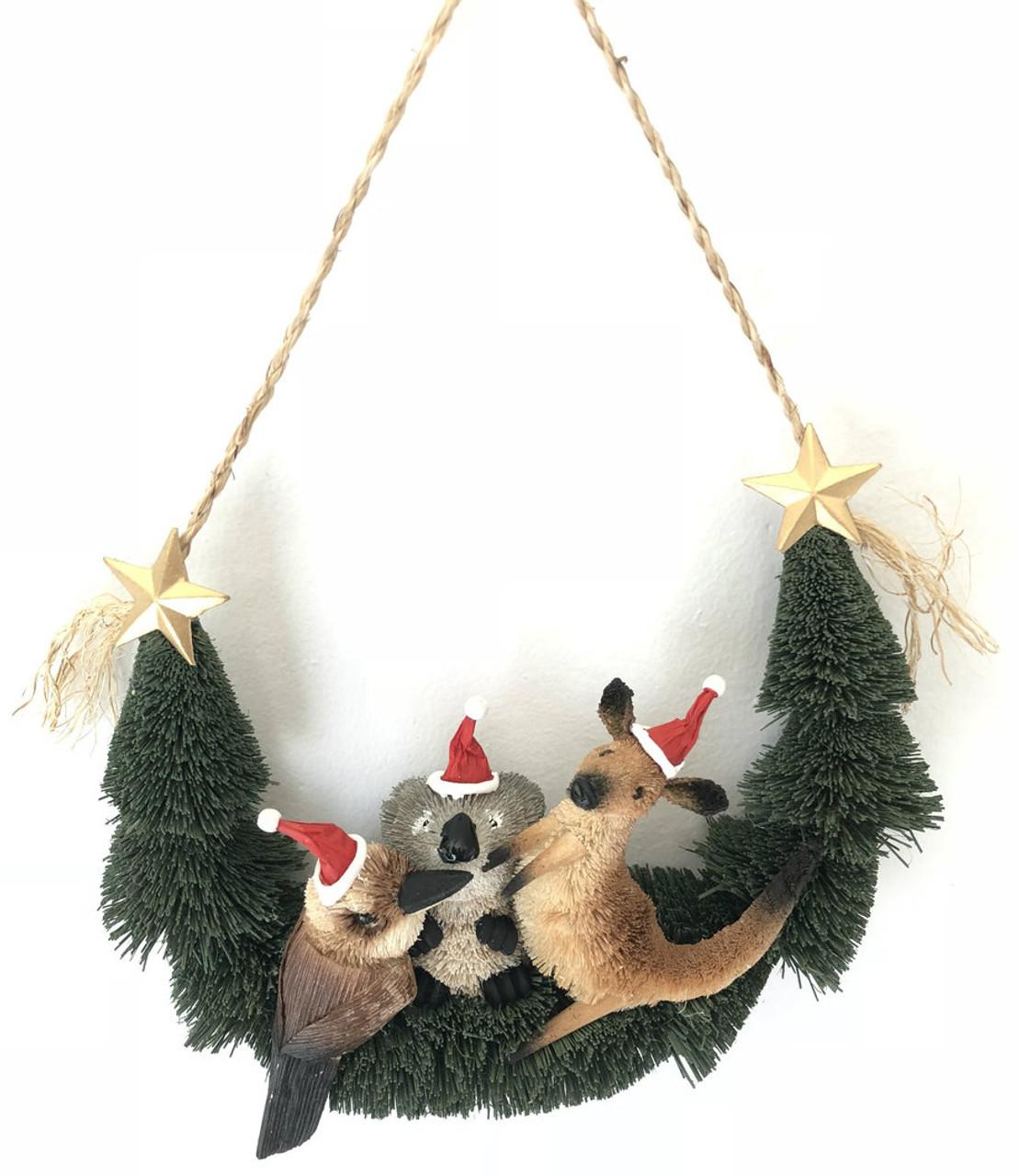 bb-AUSSIE ANIMAL DOOR HANGER - Australian Christmas Door Wreath
