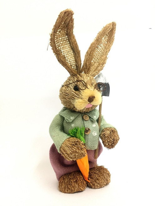 ONLY 15 LEFT!!!! 35cm-BRISTLESTRAW BUNNY WITH HOE - GREEN - MALE