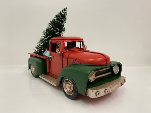 CHRISTMAS CAR - RUSTY RED AND GREEN UTE - LARGE Christmas Decoration