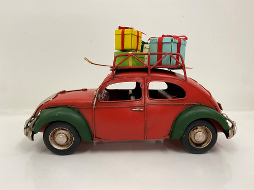 CHRISTMAS CAR - RUSTY RED AND GREEN VW BEETLE - LARGE Christmas Decoration