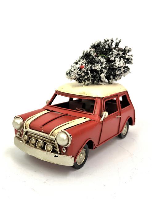 Beautifully Hand made Rusty Red Mini Christmas Car - 18cm