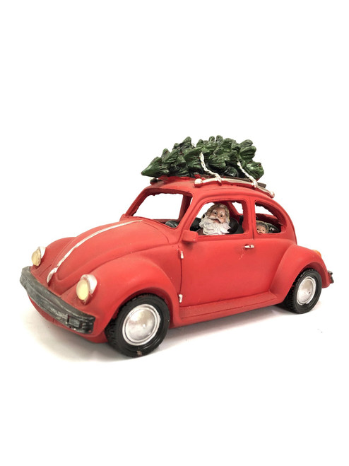 Beautifully Designed Resin Christmas VW Beetle with Working Headlights - 25cm