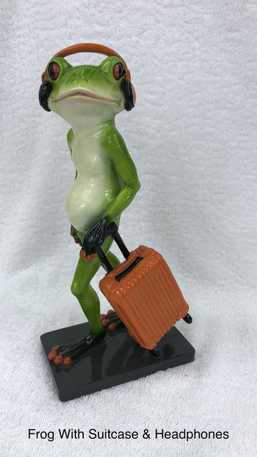 CHEEKY FROG ON STAND - WITH SUITECASE AND HEADSET