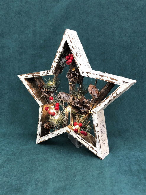 CHRISTMAS BOXED STAR WITH LIGHTS - (SMALL) 25CM  Christmas Decoration