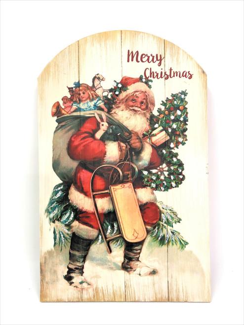 Classic Santa Merry Christmas sign  - 30cm