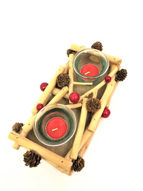 CHRISTMAS 2 CANDLE HOLDER - DRIFTWOOD 25CM Christmas Decoration
