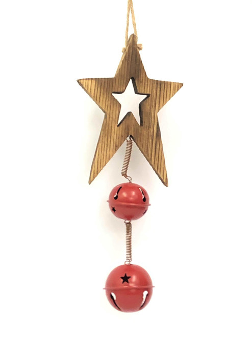 WD-CHRISTMAS STAR BELL DOOR HANGER - 2 BELL