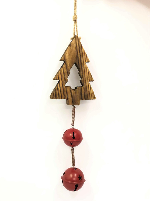 WD-CHRISTMAS TREE BELL DOOR HANGER - 2 BELL