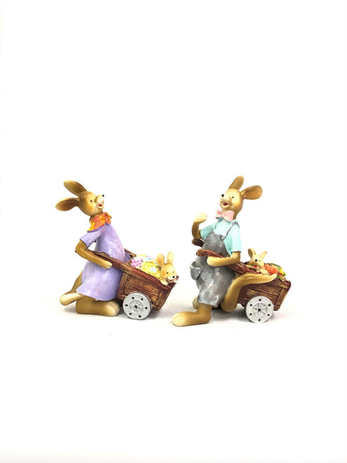 KANGAROO PAIR WITH CARTS - (SET OF 2) 20CM