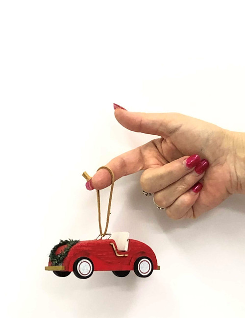 WC-CHRISTMAS ORNAMENT - SPORTS CAR - HANDMADE 11CM