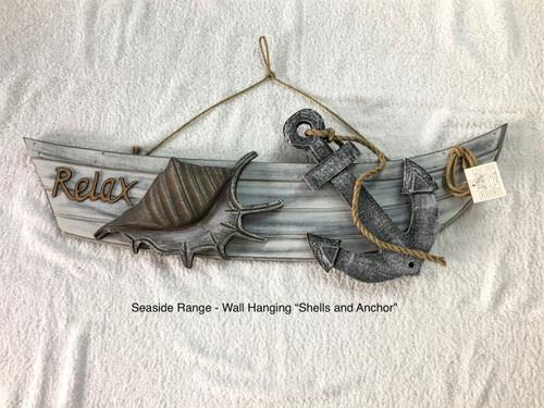 SEASIDE WALL HANGER ANCHOR SHELL - 45CM