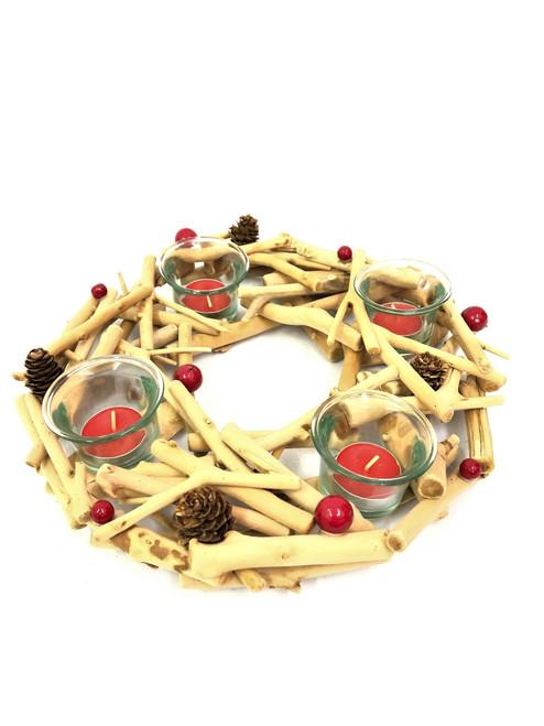 Christmas - 4 Candle Holder - Driftwood - 30cm