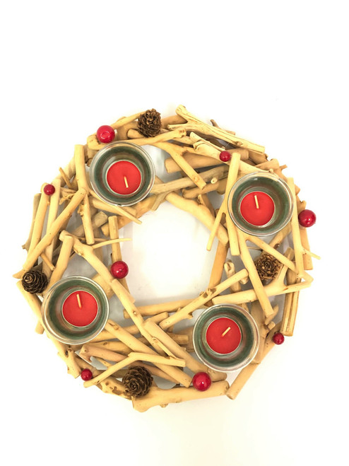 CHRISTMAS - 4 CANDLE HOLDER - ROUND - DRIFTWOOD 35CM Christmas Decoration