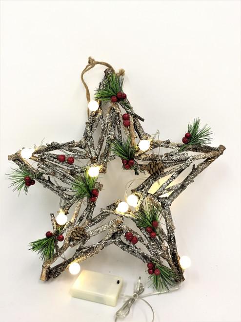 CHRISTMAS DRIFTWOOD STAR WREATH WITH LIGHTS - 40CM Christmas Decoration