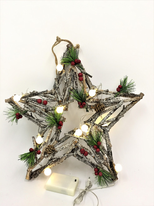 CHRISTMAS DRIFTWOOD STAR WREATH WITH LIGHTS - 40CM Christmas Decoration