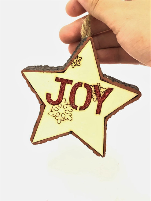 "Light up Christmas Tree Ornament ""JOY"" - 11cm"